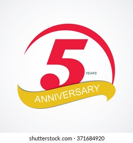 Template Logo 5 Anniversary Vector Illustration EPS10