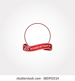 Template Logo 65th anniversary with a circle and the number 65 in it and labeled the anniversary year. Sixty fifth.
