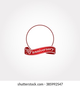 Template Logo 70th anniversary with a circle and the number 70 in it and labeled the anniversary year. Seventieth.