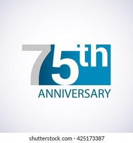 Template Logo 75th anniversary blue colored vector design for birthday celebration.