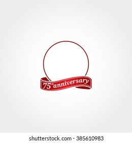 Template Logo 75th anniversary with a circle and the number 75 in it and labeled the anniversary year. Seventy fifth.