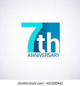 Template Logo 7th anniversary blue colored vector design for birthday celebration.