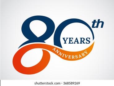 Template logo 80th anniversary years logo.-vector illustration