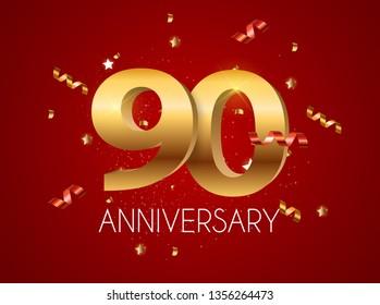 Template Logo 90 Years Anniversary Vector Illustration EPS10