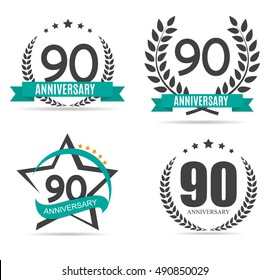Template Logo 90 Years Anniversary Set Vector Illustration EPS10