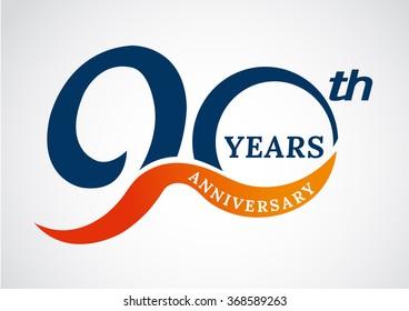 Template logo 90th anniversary years logo.-vector illustration