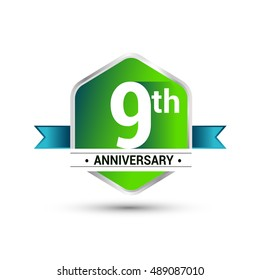 Template Logo 9th anniversary celebration. green and blue ribbon colored hexagon shape, vector design.