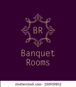 Template logo for the banquet hall, catering, restaurant. Monogram. Vintage style. Burgundy color.