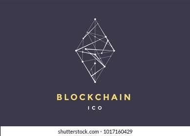 Template logo for blockchain technology. Rhombus with connected lines for brand, logo, logotype of smart contract block symbol. Design for decentralized transactions. Vector Illustration