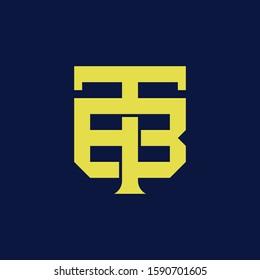 template logo BT or TB monogram logo initial handmade for clothing, apparel, sport, baseball, basketball or logo design vector