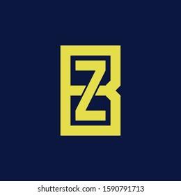 template logo BZ or ZB monogram logo initial handmade for clothing, apparel, sport, baseball, basketball or logo design vector