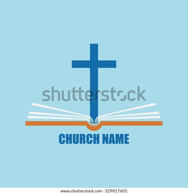 Template Logo Church Form Cross Bible Stock Vector Royalty Free 329817605