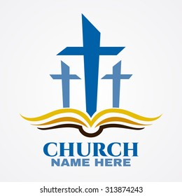 Template logo for churches and christian organizations cross on the bible. Church cross bible logo