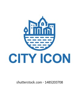 template logo city icon vector , simple clean lines style logo
