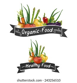 Template logo or decoration in retro style. Ribbons and different set of vegetables in a watercolor style. Vector.