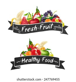 Template logo or decoration in retro style. Ribbons and different set of fruit in a watercolor style. Vector.