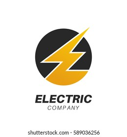 Template for a logo of the electric company, customer service. The lightning in a circle symbolizing letter E. Vector illustration.