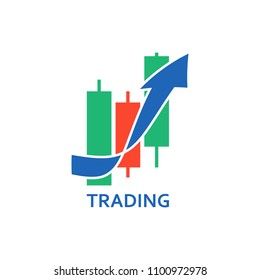 Template of logo for exchange and trading with japanese candles and arrow. Vector graphic logotype