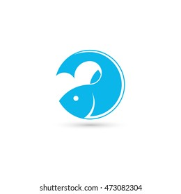 Template of logo with fish in the form of round. Creative vector symbol of fishing club or online shop. Icon isolated on the white background.