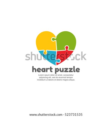 template logo heart puzzle stock vector royalty free 523731535