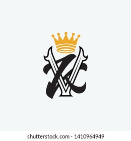 template logo KV or VK with Crown