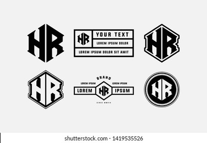 template logo letter HR monogram initial brand