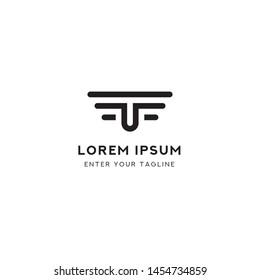 "Template Logo Letter UT or TU, Concept Logo Is Letter U + T ""Negative Space"", + Symbol Wings."