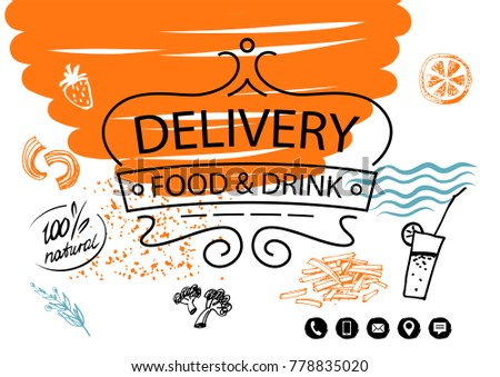 template logo nutrition catering cafe restaurant stock vector