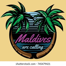 Template for logo on the theme of tourism with a palm trees.
