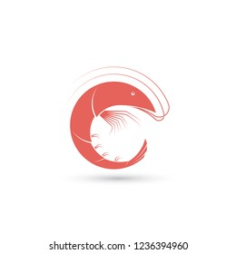 Template of logo with shrimp in the shape of circle. Creative vector symbol of seafood restaurant or fishing company. Icon isolated on the white background.