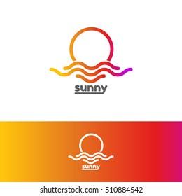 Template logo for sunny. Colorful sun and sea logo