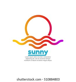 Template logo for sunny. Colorful sun and sea logo