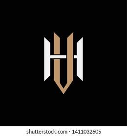 template logo VH or UH monogram logo initial