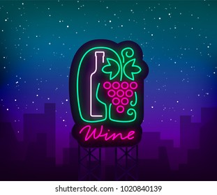 Template logo wine bar in a trendy neon style. Logo, badge glowing banner. For the menu, bar, restaurant, wine list, wine house, wine label, vineyard winery. Vector illustration