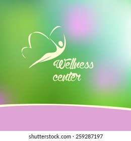 Template logo for a yoga studio, fitness center, wellness center. Blurred background raspberry and green the silhouette logo.
