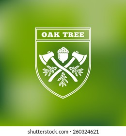 Template for logos, labels and emblems with acorn, oak leaves, shield and two axes. Vector illustration.