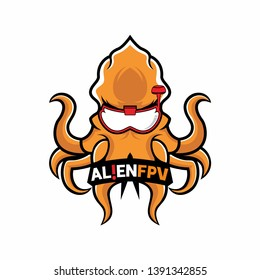 template for logos, labels and emblems with orange octopus