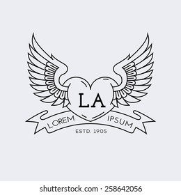 Template for logos, labels and emblems in outline style with heart and wings. Vector illustration.