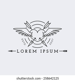 Template for logos, labels and emblems in outline style with heart, wings and arrows. Vector illustration.