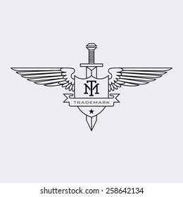 Template For Logos Labels And Emblems In Outline Style With Wings Sword Shield