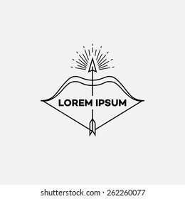 Template for logos, labels and emblems in outline style with bow and arrow. Black and white. Vector illustration.