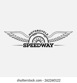 Template for logos, labels and emblems in outline style with half wheel and wings. Black and white. Vector illustration.