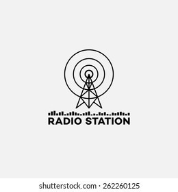 Template for logos, labels and emblems in outline style with radio tower and equalizer. Black and white. Vector illustration.