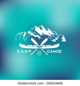 Template for logos, labels and emblems with two paddles, canoe, mountains and compass. Vector illustration.