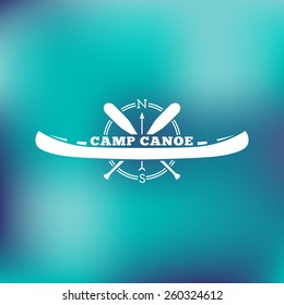 Template For Logos Labels And Emblems With Two Paddles Canoe Compass Vector