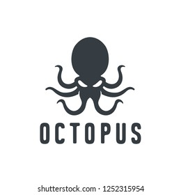Template for logos, labels and emblems with white silhouette of octopus. Vector illustration.