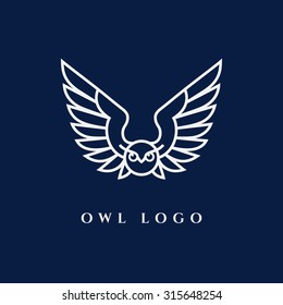 Template for logos, labels and emblems with white contour of owl. Vector illustration.