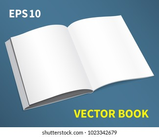 Template is a magazine. With empty white pages. The book is open to a full spread, with soft shadows. Lies on the table, diagonally. A layout for inserting text for your business. Vector illustration.