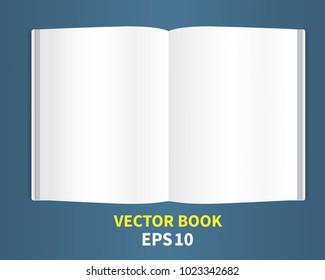A template is a magazine. With empty white pages.The book is open to full distribution, with soft shadows.Lies on the table, straight. A layout for inserting text for your company. Vector.