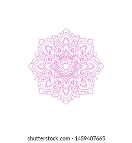 Template of Mandala Circular Pattern For Coloring Book, Decorative Ornament, Henna Motif, Floral Flower Sign Symbol,  Islam, Arabic, Asian, Turkish, Pakistan, Chinese, Moroccan, Ottoman Motif